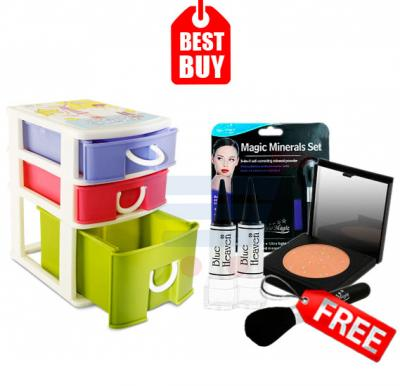 Combo Offer! Three Layer Mini Plastic Drawer, for Storage Creative Fashion Cabinets 2506 & Get Blue Heaven Special Kajal 10 pcs Set For Women & New Magic 3 In 1 Minerals Set  Self Correcting Mineral Powder - 4350 FREE
