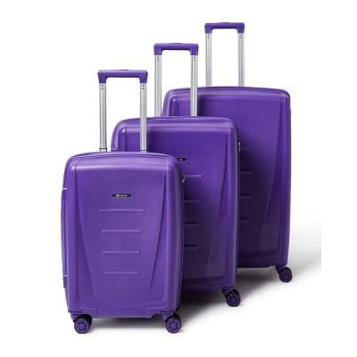 Partner 3 Piece Hardside Luggage Trolley Bag Set, Purple