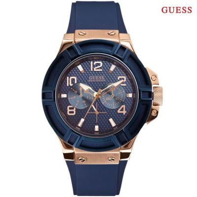 Guess W0247G3 Round Analog Blue Dial Mens Watch