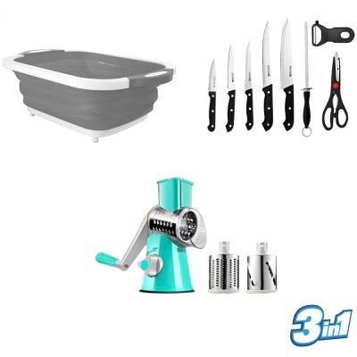 3 In 1 Combo Folding Chopping Board,9 Pcs Kitchen tool Set And Swift Rotary Drum Grater