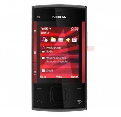 Nokia X3-00 slide Phone, Symbian OS, 2.4 Inch Display, Bluetooth, USB, FM Radio - Black