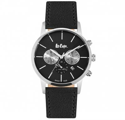 Lee Cooper Mens Multifunction Silver Case Black Leather Strap Black Dial, LC06341.351