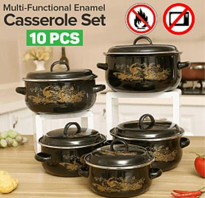 Royal Mark Multi-Functional Enamel Casserole10 Pcs Set, RMCW-9710