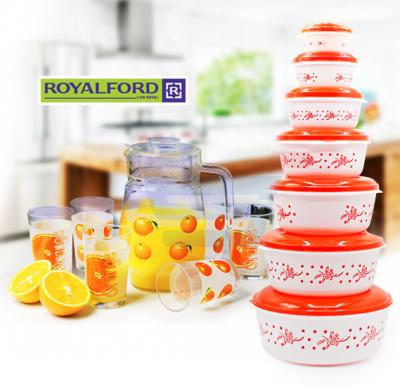 Bundle Offer Royalford 7Pcs Water Set 1.3 Liter Jar and 9Oz Glass + Solar 7 set Plastic Food Container