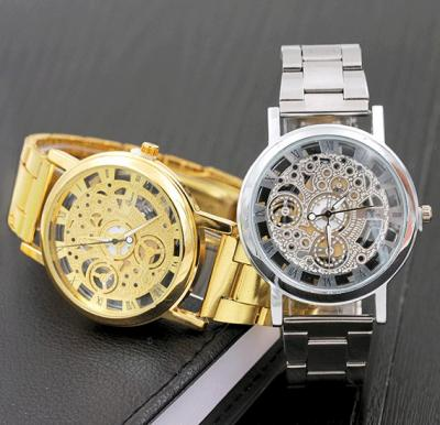Mcykcy Imitation Machinery Casual Watch- Silver&Gold Color 2Pcs