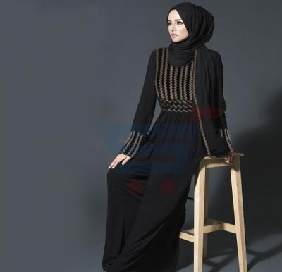 HandCrafted Black Contrast Embroidered Abaya ABY-1