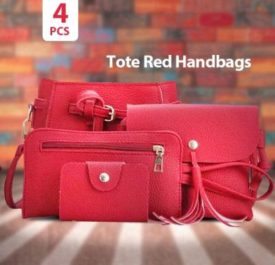 One or Two Sets of Four Tote Red Handbags