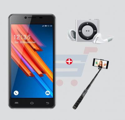 Bundle Offer! Inspire R6 Smartphone, 4G, Android 5.1, Quadcore, 5Inch IPS HD Super Retina Display, 2GB RAM, 16GB Storage, Dual Camera, Dual SIM - Black & Get MP3 Player + Selfie Stick FREE