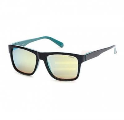 Guess Square Top Black Turquoise Frame & Green Mirrored Sunglasses For Men - GU6882-05Q