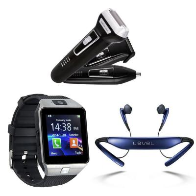 3 In One Bundle Pack, Yoko 3 in 1 YK-6558 Dry For Men - Clipper & Trimmer, MidSun M9 Smart Watch with SIM Slot, Camera And Bluetooth, Level Wireless Bluetooth Neckband Headset With Mic