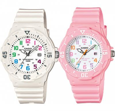 2 in 1 Casio Bundle Analog Watch For Girls, Sport Resin Band-LRW-200H-4B2VDF With Casio Analog Watch For Women, White Resin Band-LRW-200H-7BVDF (CN)