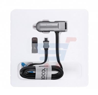 Hoco Car Charger With 2 In 1 Cable-Black