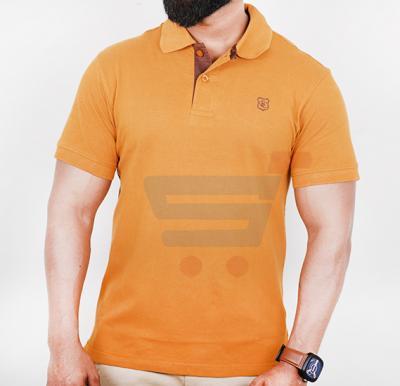 Blue Card Mens Polo Neck Half Sleeve T-Shirt Orange - Medium