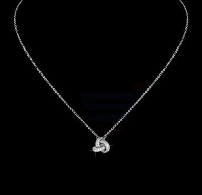 Tiara Elements White Gold Plated Necklace With Embosed Crystals On The Pendant - UN0103