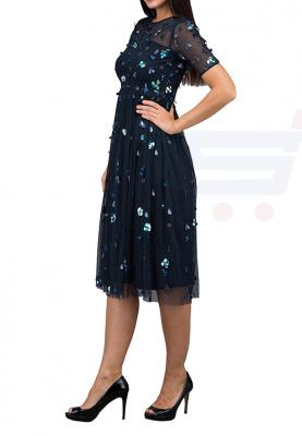 TFNC London Sweetheart Flower Detailed   Formal Dress Navy - LNB 52370 - L
