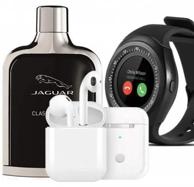 Mens Utility Pack of Bluetooth Smartwatch, Headset and Jaguar Black Perfume 100 ML