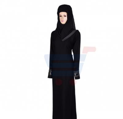 Ayishas Nida Colour Black Simple Handmade Abaya, Nida Colour ABYS-1
