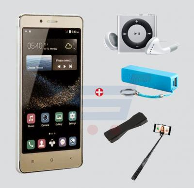 Bundle Offer Kagoo No.1Smartphone, 3G, Android5.1, 4.5 Inch Display, 1GB RAM, 4GB Storage, Dual Camera, Dual Sim- Gold & Get MP3 Player, Selfie Stick, Power Bank, Grip FREE