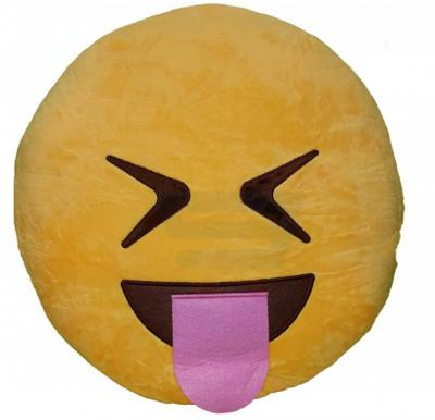 Yellow Round Cushion Pillow, Emoji Tongue Out Laugh