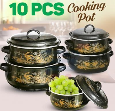 10 Pieces Set Enamel Cooking Pot, P1001