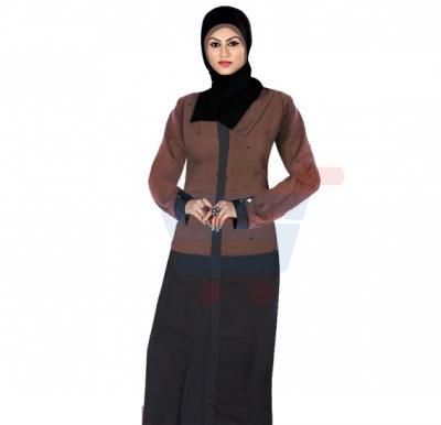 Ayishas Nida Colour Top Pattern Black & Burnt Brown Color Handmade Abaya, Nida Colour ABY-4