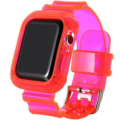 Green Ultra Transparent TPU Watch Band With Case 40mm / 42mm For Apple Watch 4 And 5, Rose Red