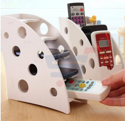 Two Functions Remote Control Wood-plastic Plate Durable Holder Stand Storage Caddy Household Organizer Sofa DVD Case