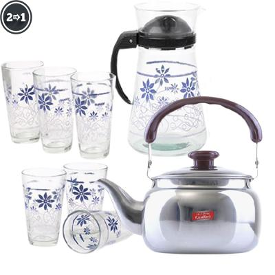 2 In 1 Royalford Stove Top Tea Kettle 0.75 Ltr And S.L.G.L OSP009 Glass Sets with Handle 7 Pcs Assorted Color