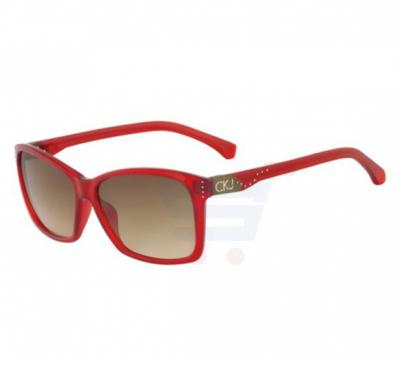 Calvin Klein Square Red Frame & Grey Mirrored Sunglasses For Unisex - CKJ735S-600