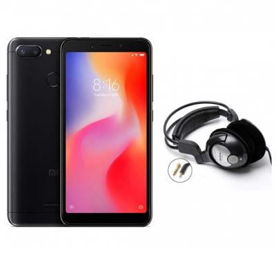 2 in 1 Bundle Offer Xiaomi Redmi 6, 64GB, 3GB RAM Mobile With Free Bass Head Phones