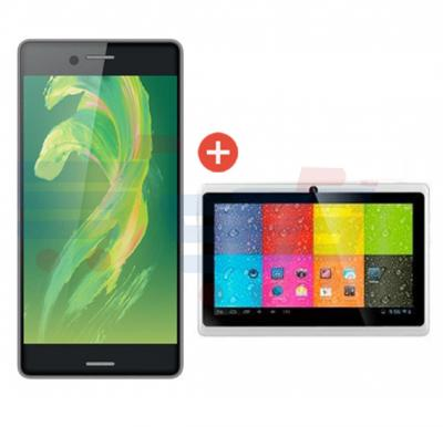 Combo Offer Discover X Smartphone, 4G, Android OS, 5.0 Inch HD Display, Dual SIM,Dual Camera,2GB RAM,16GB Storage, Black+ Lenosed A710 Tablet, Android 4.2.2, 7 Inch LCD Display, 1GB RAM, 8GB Storage, Dual Camera, Wifi, Black