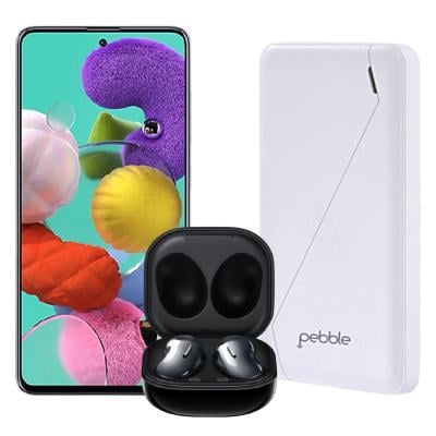 3 In 1 Samsung Galaxy A51 Dual SIM 6GB RAM 128GB 4G LTE Crush Black Samsung Galaxy Buds Live Mystic Black And Pebble 10000 mAh Powerbank White PPC100BUC