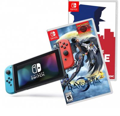 Nintendo Switch Console +1 Accessories +Bayonetta 2 and This is the police games  Offer pack