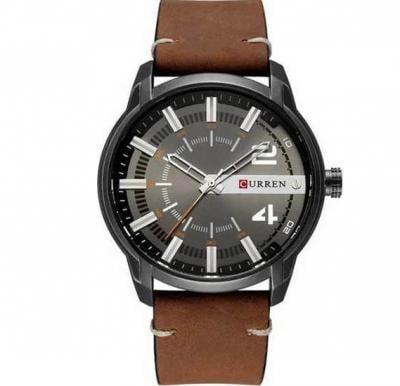 Curren Unique Dial Design Analog Leather Band Watch for Men, 8306, Khaki Black
