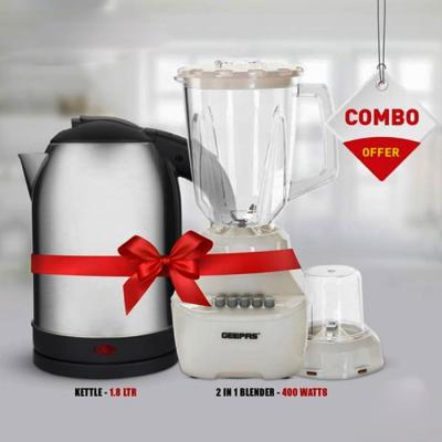 Combo Pack Geepas 1.8 Litre Stainless Steel Electric Kettle and 2 in 1 Power Blender GSB5362