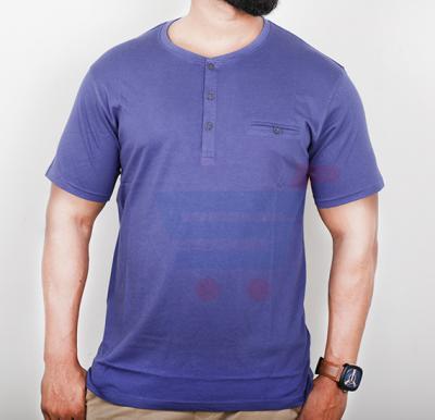 Highlander Mens Cotton Round Neck Half Sleeve T-Shirt Light Purple - Large