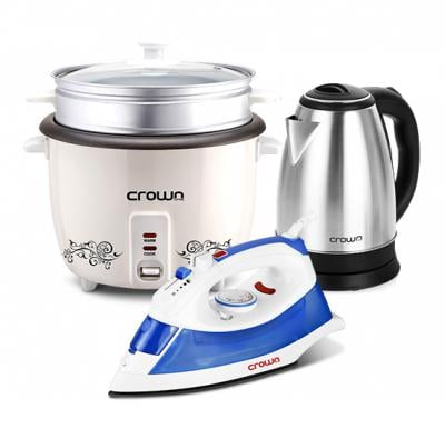 3 in 1 Bundle Crownline Iron with Rice Cooker and Electric Kettle