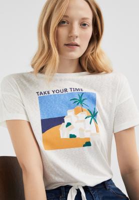 Springfield Womens Half Sleeve Fancy T-Shirt Beige, Size Medium