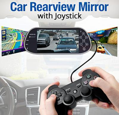 Car Rearview Mirror 7 Inch LCD Monitor, Bluetooth, FM Transmitter, MP5, USB, SD-Card, Support 32Bit Games With Joystick - Yellow