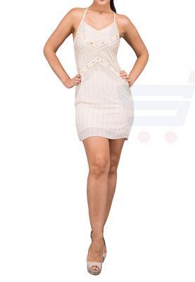 TFNC London Kandi Emb. Midi Party Dress Nude - EB 11731 - L