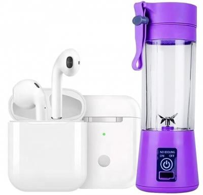 2 in 1 Bundle I12 TWS Bluetooth Earphone with Rechargeable Battery Juice Blender