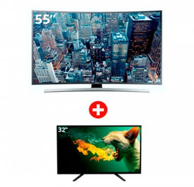 Bundle Offer! Buy Samsung 55inch UHD 4K Curved Smart TV JU6600 Series 6 and Get DAT LED 32inch TV Free!
