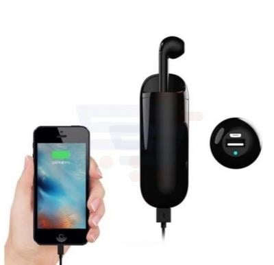 HBQ I9 Bluetooth Mini Mono Bluetooth Wireless Earphone Headset with 2 in 1 Charging Box and External Power Bank with Capacity of 3000mAh for all android and iOS devices - Black