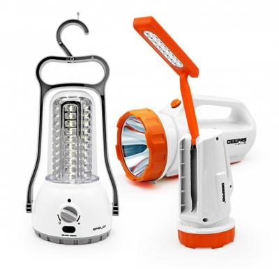 2 in 1 Bundle Geepas Rechargeable Search Light   with Epsilon Rechargeable LED Lantern With Torch