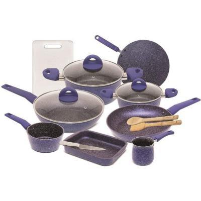 Homeway 15 Piece Marble Coated Cookware Set, Baking Tray, Casserole, Coffee Warmer, Frying Pan, Sauce Pan, Tawa Pan, Wok Pan, Knife and Cutting Board, HW-3430