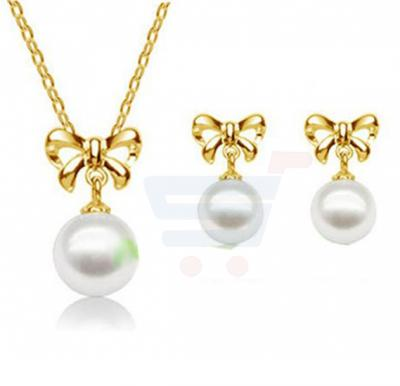 Wedding 18KGP Knot Pendant Necklace Earrings Fashion Jewelry Set For Women