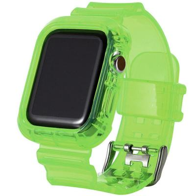 Green Ultra Transparent TPU Watch Band With Case 40mm / 42mm For Apple Watch 4 And 5, Olive Green