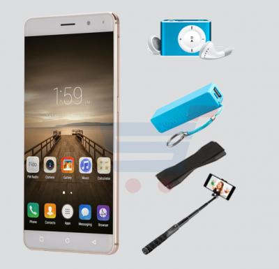 Bundle Offer W&O M2 4G Smart phone, Finger Print, 6.0 Inch HD  Display, 2GB RAM, 32GB Storage, Get MP3 Player, Power Bank, Selfie Stick And Mobile Grip Free - Gold
