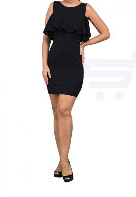 WAL G Italy Frill Casual Dress Black - CH 88038 - L