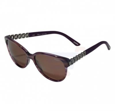 Chopard Oval Striped Purple Frame & Purple Mirrored Sunglasses For Unisex - SCH150S-57-06XD